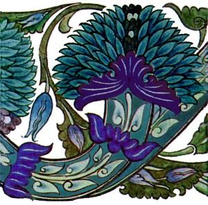 De Morgan was most famous for his titles. This 'Blue Peony' design was sold by 'The Form'.