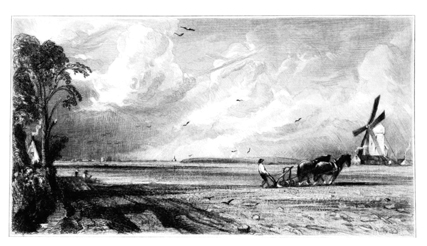 'Spring': engraving in Leslie's biography  of Constable's painting, now in the V & A.
